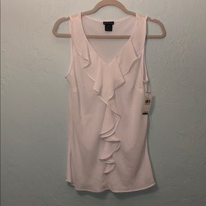 NWT White new directions ruffle sleeveless blouse